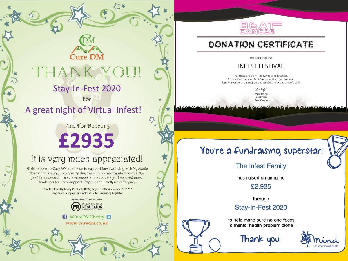 Infest 2020 Charity Donation Certificates